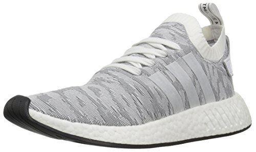 adidas Originals Men's NMD_R2 PK Sneaker, White/White/Black, 9.5 M US