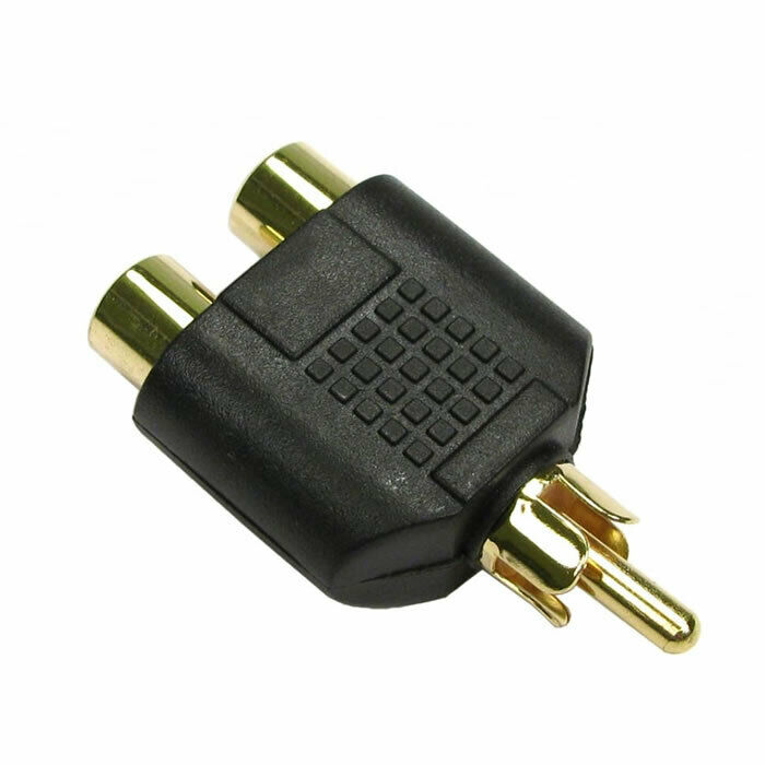 GOLD 1 to 2 AUDIO VIDEO AV SPLITTER RCA PHONO CABLE ADAPTER