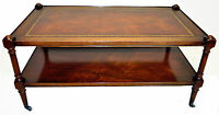 Stunning Weiman Regency Style Mahogany Leather Top Coffee Table c. 1940's