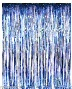 Image Is Loading Lot Of 6 Foil Fringe Metallic Blue Curtains