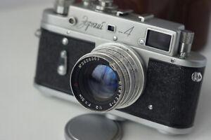 Vintage Soviet Zorki-4 USSR range finder film camera 35mm M39+Jupiter-8 Red P
