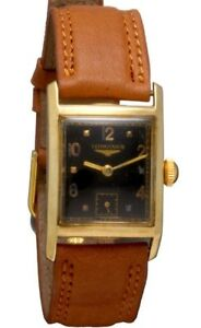 14K-Gold-Longines-Swiss-Watch-17-Jewel-Rectangular-Glass-Black-Dial-CA1940s