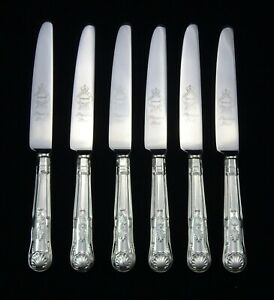 6-HEAVY-VINTAGE-SILVER-PLATED-KINGS-PATTERN-SHEFFIELD-DESSERT-SIDE-KNIVES-8-25-034