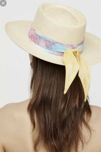 NWT $268 Van Palma Tie Dye Silk Band Aurora Straw Hat