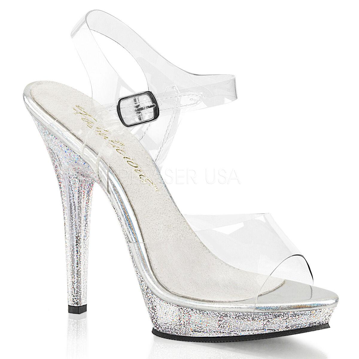 Sexy Stripper 5  High Heel Mini Iridescent Glitter Platform chaussures w  Ankle Strap