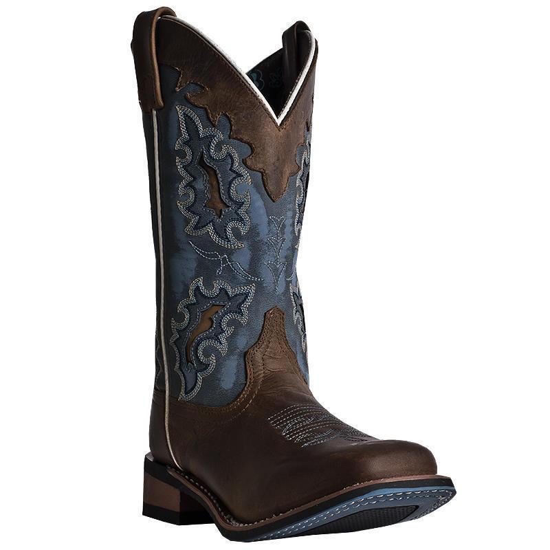 Laredo Ilsa 01-5666-BN102 Women's 11  Tan & bluee Leather Cowboy Boots