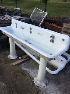 Image Is Loading Antique Cast Iron Trough Sink 6 Foot With