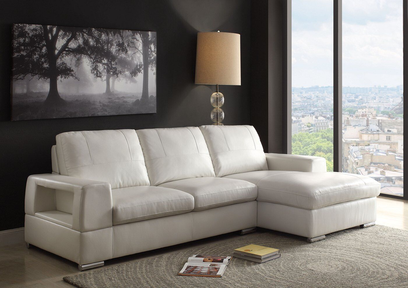 Kaidan Contemporary Sectional Sofa In Ivory White Faux Leather For Sale Online
