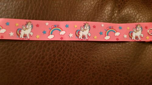 Girls baby dummy strap clip mam adapter pink unicorn horse horn character ribbon