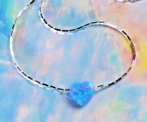 OPAL-HEART-Fire-Blue-solid-Sterling-Silver-Necklace-dainty-play-of-color