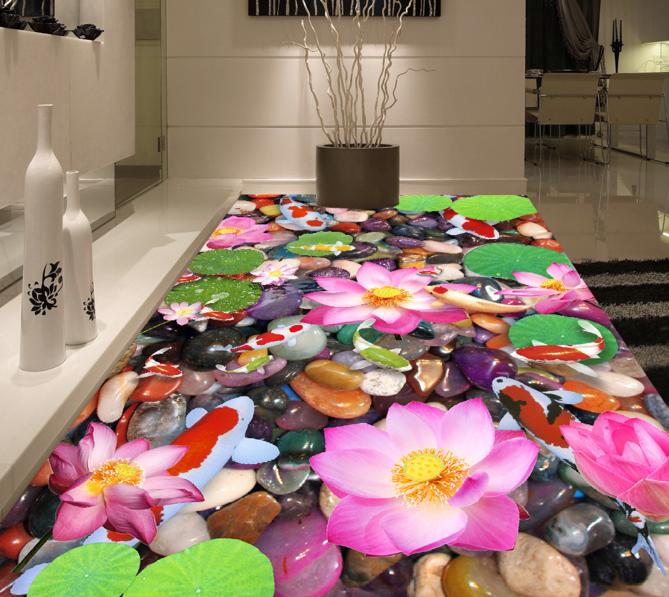 3D Fresh Lotus Fish 71 Floor WallPaper Murals Wall Print Decal 5D AU Lemon
