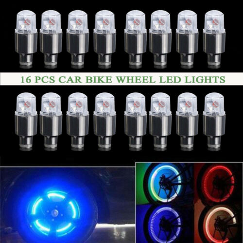 16X Wheel Lamp Tire Tyre Valve Cap Neon LED Flash Light For Bike Car Motorcycle