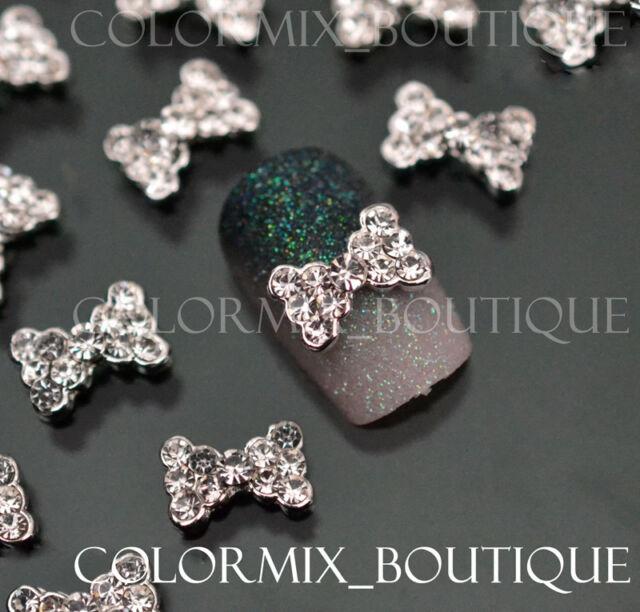 10pcs 3D Nail Art Deco Bow Knot Superior Alloy Jewelry Glitter Rhinestone #CA040