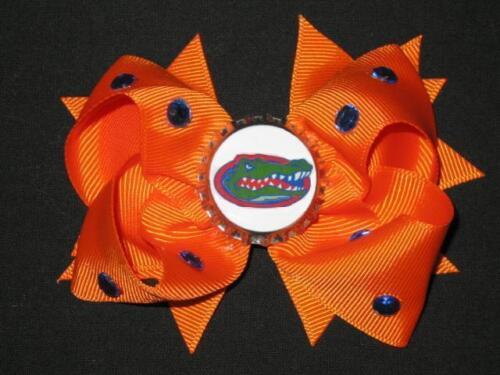 "NEW /""FLORIDA Gators/"" University of FL Girls Ribbon Hair Bow Rhinestone Clip NCAA"