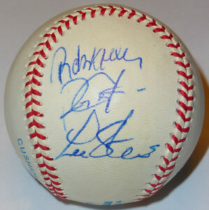 JOHN WETTELAND ROBERTO KELLY ROYCE CLAYTON LEE STEVENS SIGNED TEXAS RANGERS BALL
