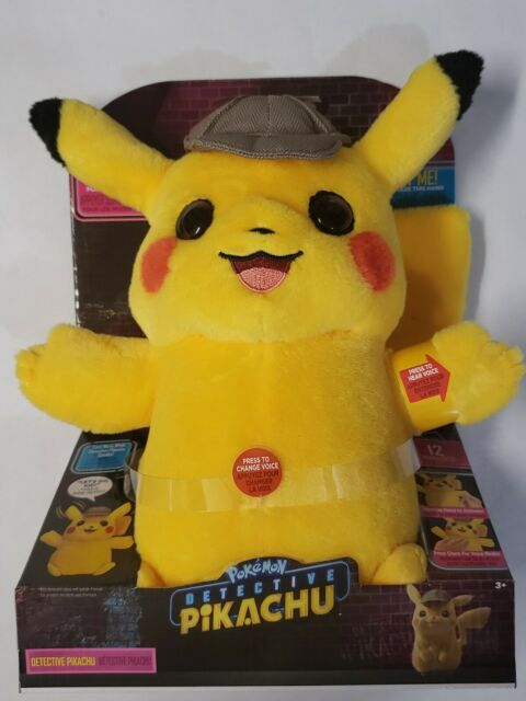 "Detective Pikachu Movie Talking Pokemon Interactive Plush 2 Voice Modes 12"" New"