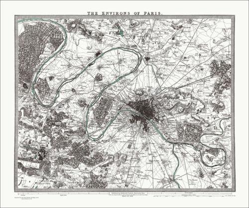 vintage map Paris Environs France in 1832 old