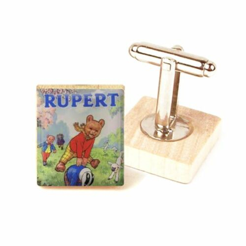 Rupert Oso Cufflinks Gemelos de imagen Vintage Rupert Oso hecho a mano en el Reino Unido