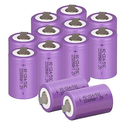 New 12pcs 4/5 SubC Sub C 1.2V 2200mAh Ni-Cd Rechargeable Battery With Tab Purple