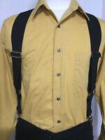 "New, Men's, Black,  XL, Adj., 2"", Side Clip Suspenders / Braces, Made in USA"