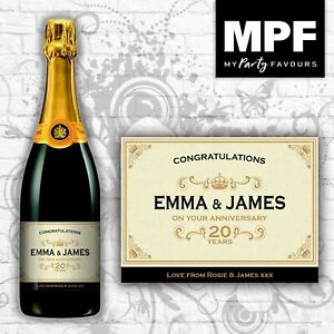 Personalised Anniversary Champagne/Prosecco Bottle Label (Gold)