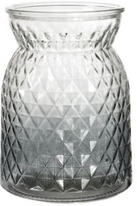 Charcoal-Glass-Flower-Vase-Wide-Mouth-Flower-Vase-Waisted-Design-Etched-Design