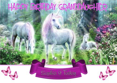 Unicorn personalised birthday card ANY NAME//AGE//RELATION.