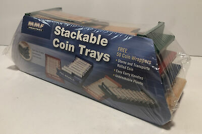 Plastic Rolled Coin Trays Money Rolls Dimes Quarters Set 2 Pack
