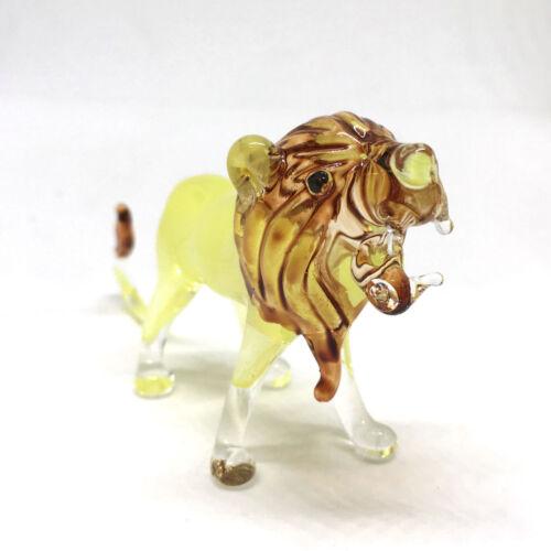 Wildlife Collectible MINIATURE HAND BLOWN GLASS Yellow Lion FIGURINE