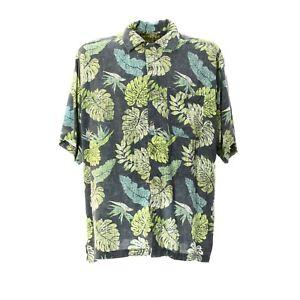 Herren-Hemd-Kurzarm-Groesse-XL-Vintage-Print-Shirt-Viskose-Kentkragen-Freizeit