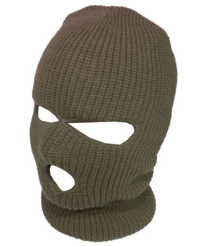 Mens Balaclava Army Military 3 Hole Full Face Hat Snood Black Green Surplus SAS