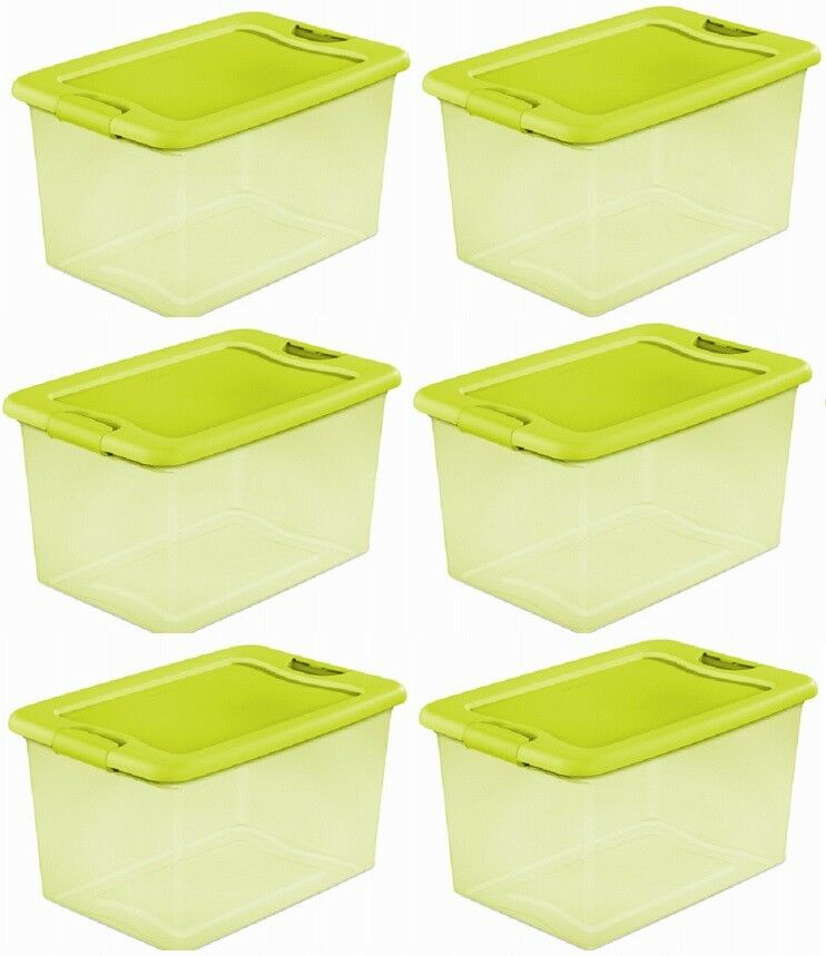 (6) Sterilite 14973506 64 Quart Lime Latched Storage   Organization Boxes