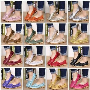 Women-039-s-Flat-Leather-Shoes-Driving-Loafers-Lazy-Peas-Moccasin-Pierced