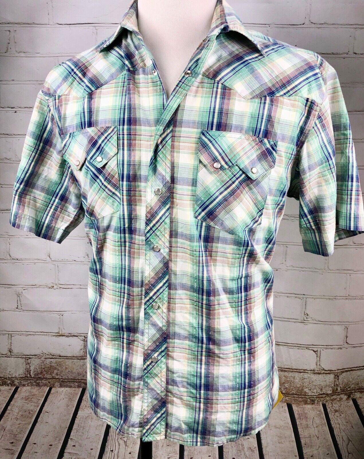 eec1d81f62 RUSTLER Plaid Shirt Western Pearl Snap Men's Vintage Short-Sleeve WRANGLER  L nzouqg2176-Casual Button-Down Shirts