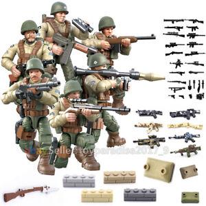 WW2 WWII Mini Figures Military Soldiers Army Weapon Machine Gun Fit  Mega