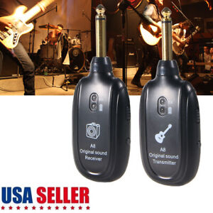 UHF-Guitar-Wireless-System-Transmitter-Receiver-kits-Rechargeable-50M-Range-New