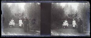 Famille Bambini Grande Madre Negativo Foto Stereo Placca Da Lente Vintage