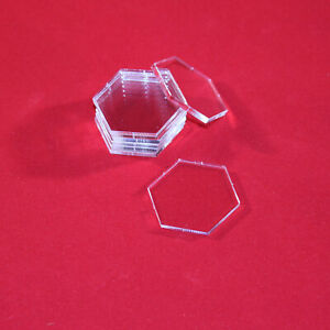 32mm TRANSPARENT CLEAR ACRYLIC BASES for Miniatures HEXAGON HEXAGONAL