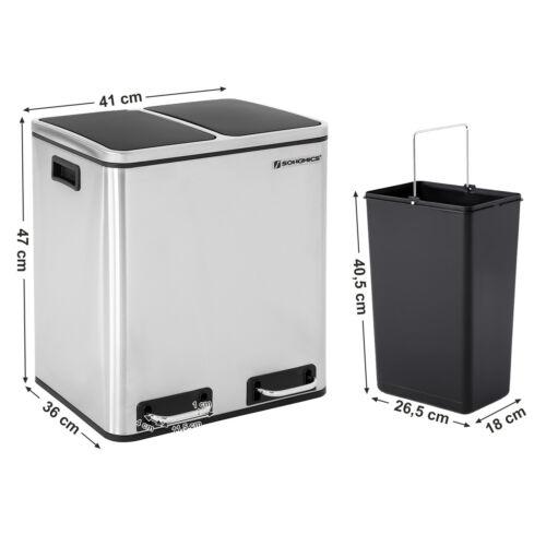 Recycling Mülleimer Mülltrennung Abfalleimer mit 2 Inneneimern Treteimer LTB30H