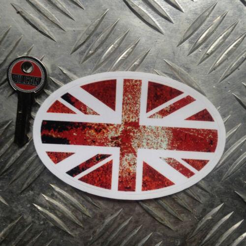 RUSTY Union Jack Autocollant Voiture Ovale Autocollant 110mm de large x 70 mm haute Ratlook VW
