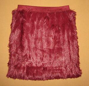 nwt petticoat alley womens faux fur burgundy skirt size xs