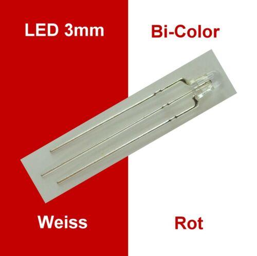 anodo c5013 Luce Cambio wendezug LED 3mm Bianco Rosso Chiaro Bi Color 3-pin Gem