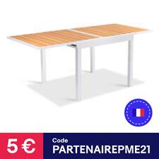 Table de jardin POLY gris clair et bois extensible 90-180 CM