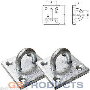 2 x Galvanised Steel Staple on Plate Eye Wall Plate Tie Down FREE P+P
