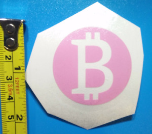 """BCH BTC BItcoin Cryptocurrency Cute Pink Vinyl Decal Adhesive Sticker 1.5"""""""