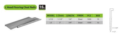 meite 16 Gauge 1-1//2-Inch L Head Hardwood Flooring Nails L Cleat Nails 1000//Box