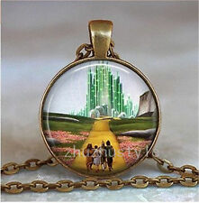 Vintage Bronze Cabochon Glass Necklace Pendant Ball Chain Necklace-Wizard of Oz