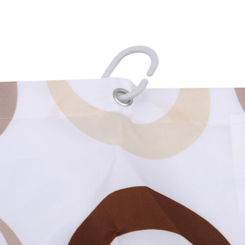 Shower Curtain Circle Pattern Design Waterproof Polyester Includes Hooks 6A