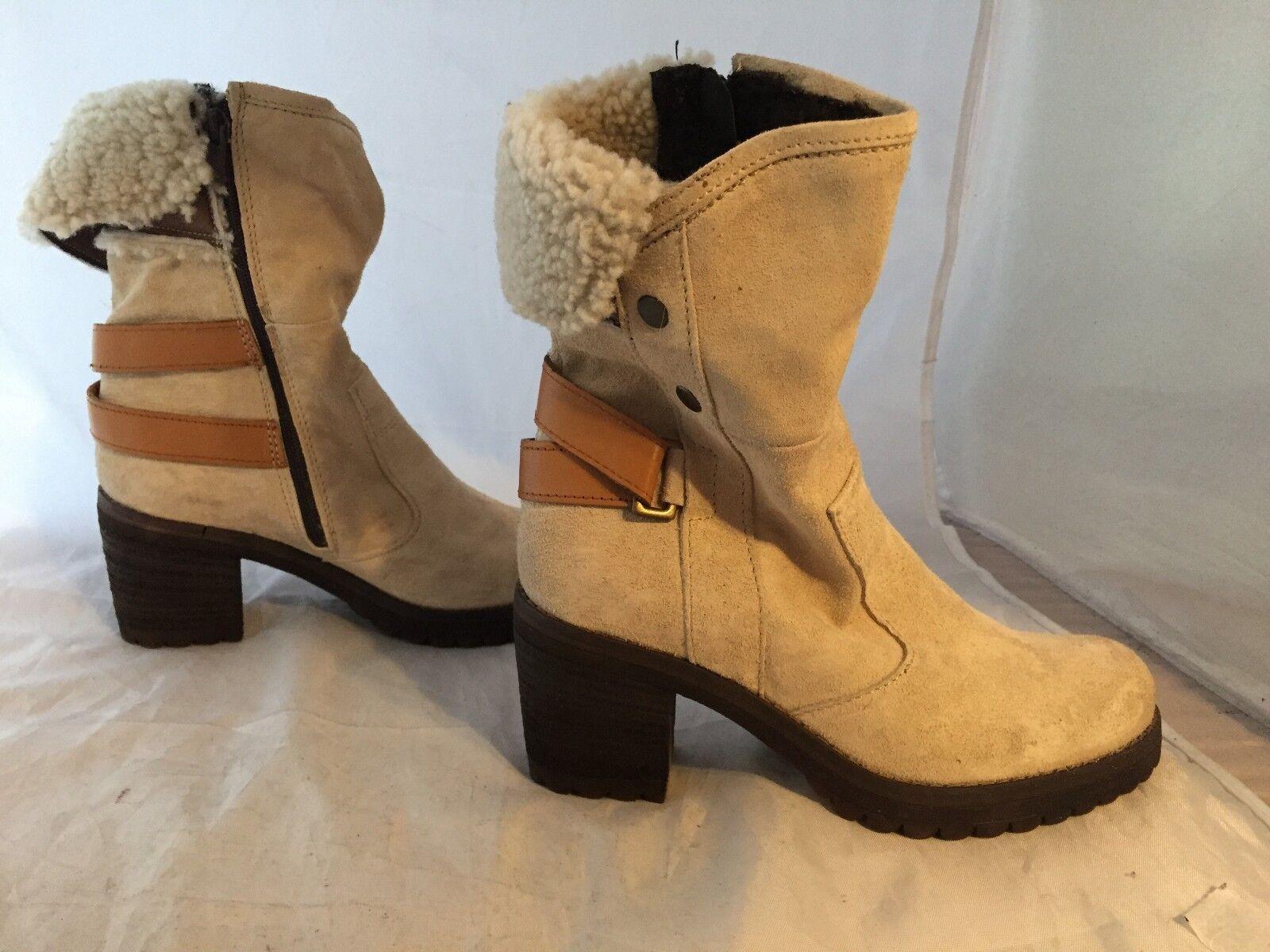 NEW Manas Beige Suede Genuine Shearling Stiefel, damen Größe 37 (6.5-7 US)  300