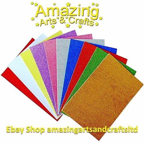 Craft Foam SELF ADHESIVE Glitter Foam Sheets A4 Pack of 10 Assorted